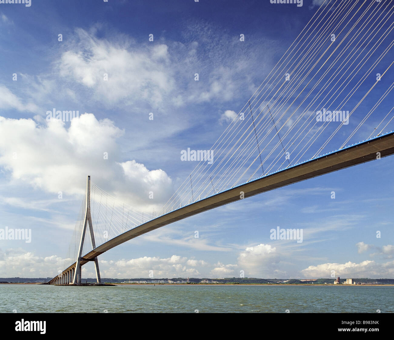 FRANCE NORMANDY BRIDGE PONT NORMANDIE RIVER SEINE - Stock Image