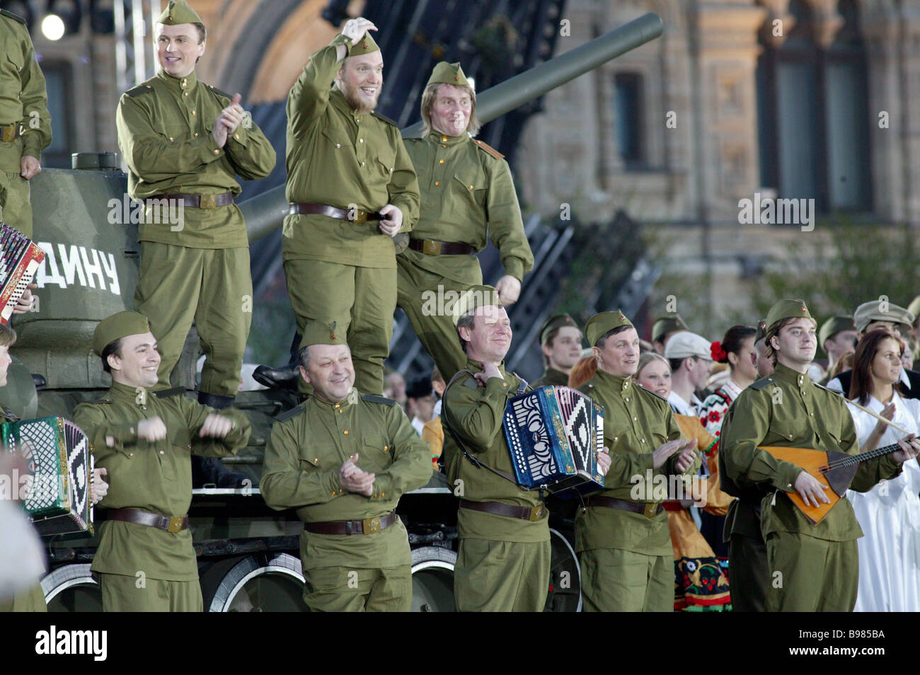 An army choir at the pageant Bow to the Glorious Years Red Square Moscow May 9 2005 - Stock Image