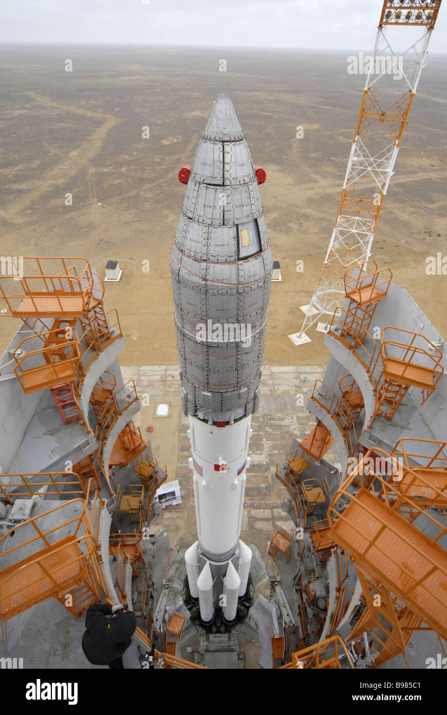 On November 18 2007 a Proton M rocket with the Briz M transfer orbit stage is to be launched from the Baikonur Cosmodrome - Stock Image