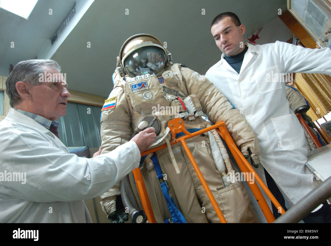 The Orlan MK is a leading edge spacesuit to be used since 2008 Designed by the Zvezda life support system manufacturers - Stock Image
