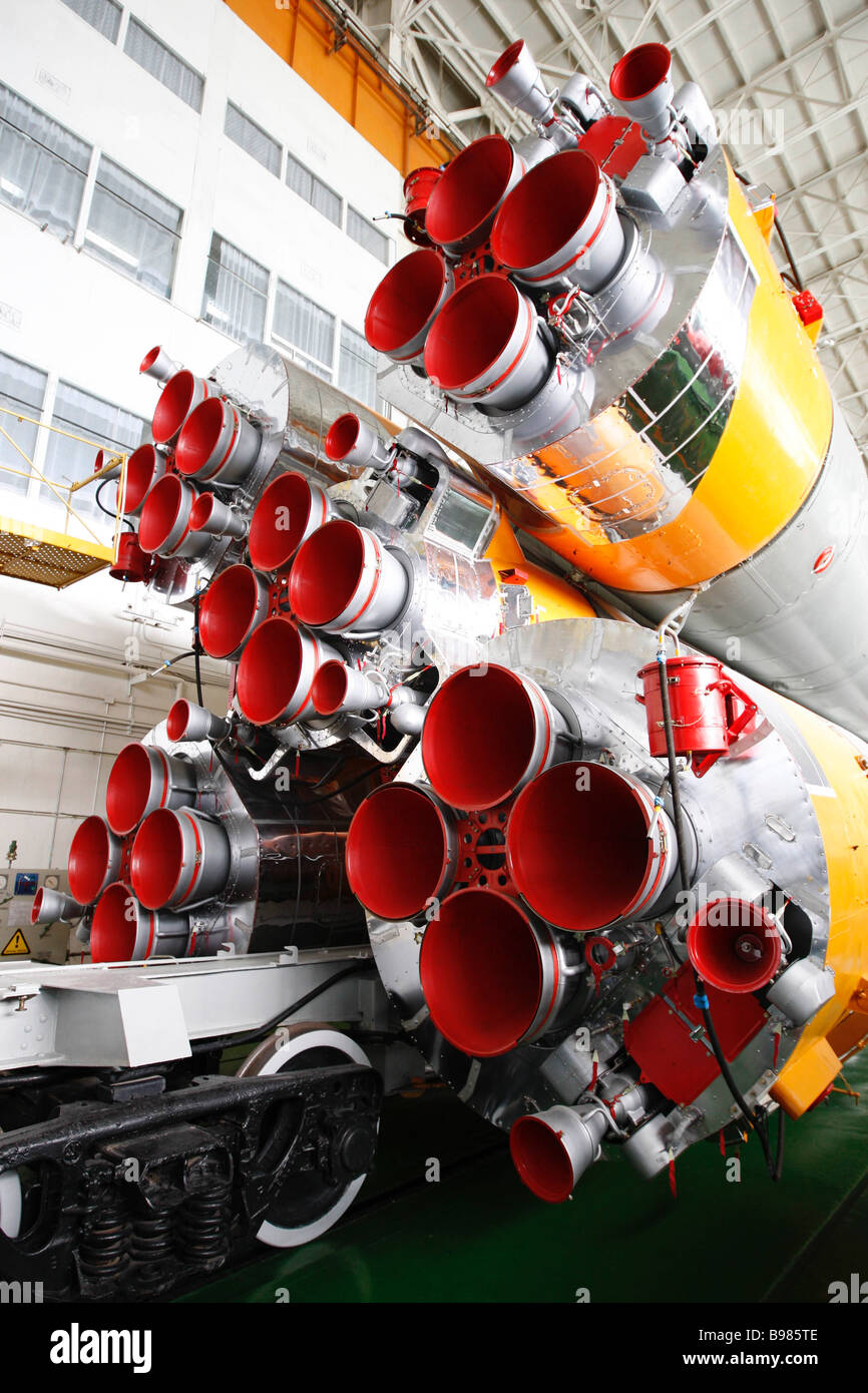 Engines of the Soyuz TMA 11 rocket in the integration house on area 112 at the Baikonur Cosmodrome The launch is - Stock Image