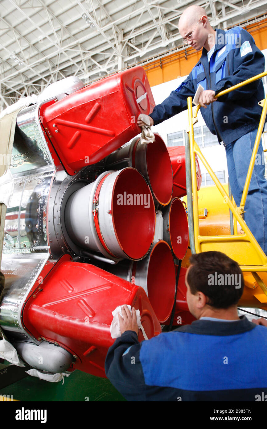 Preparing the Soyuz TMA 11 rocket in the integration house on area 112 at the Baikonur Cosmodrome The launch is - Stock Image