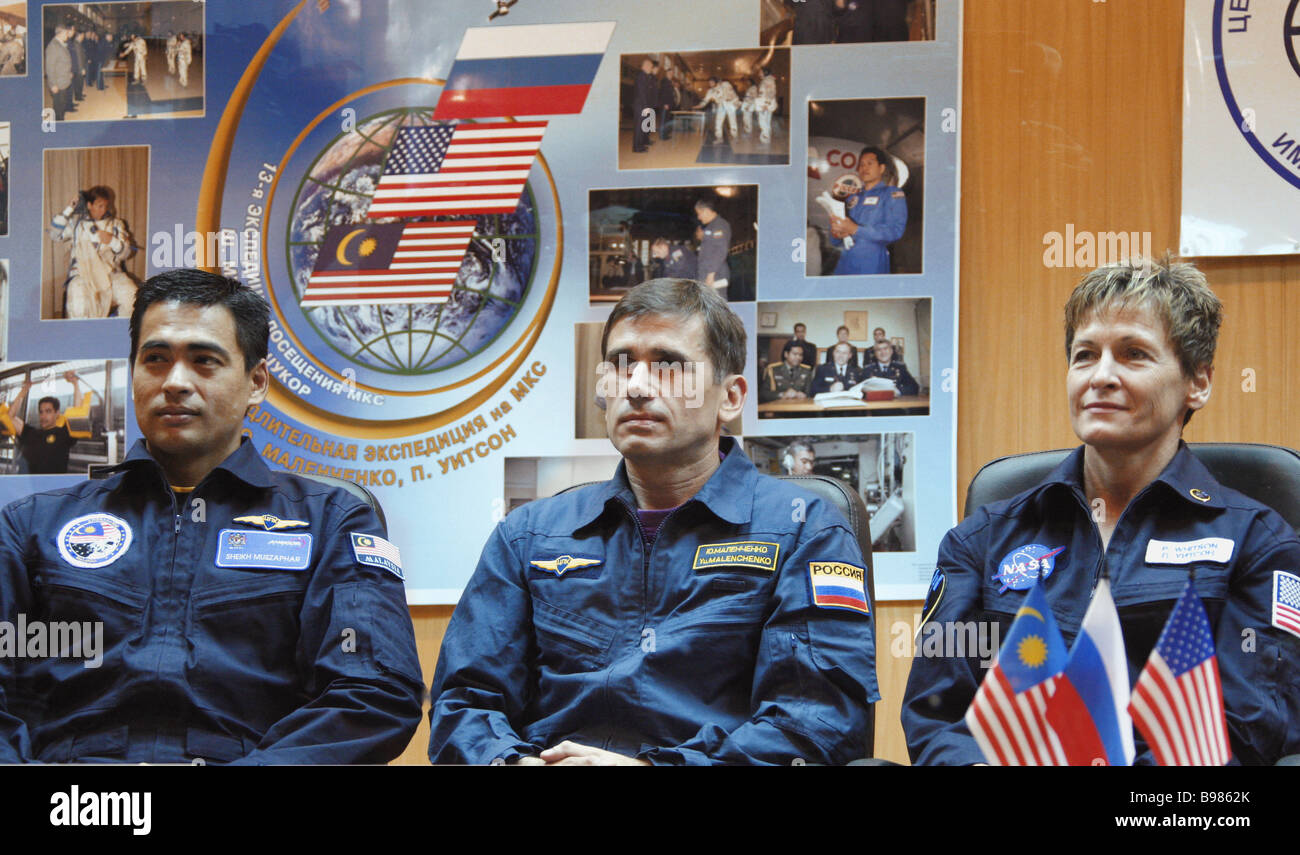 Main crew of the sixteenth International Space Station ISS expedition namely Malaysian Astronaut Sheikh Muszafar - Stock Image