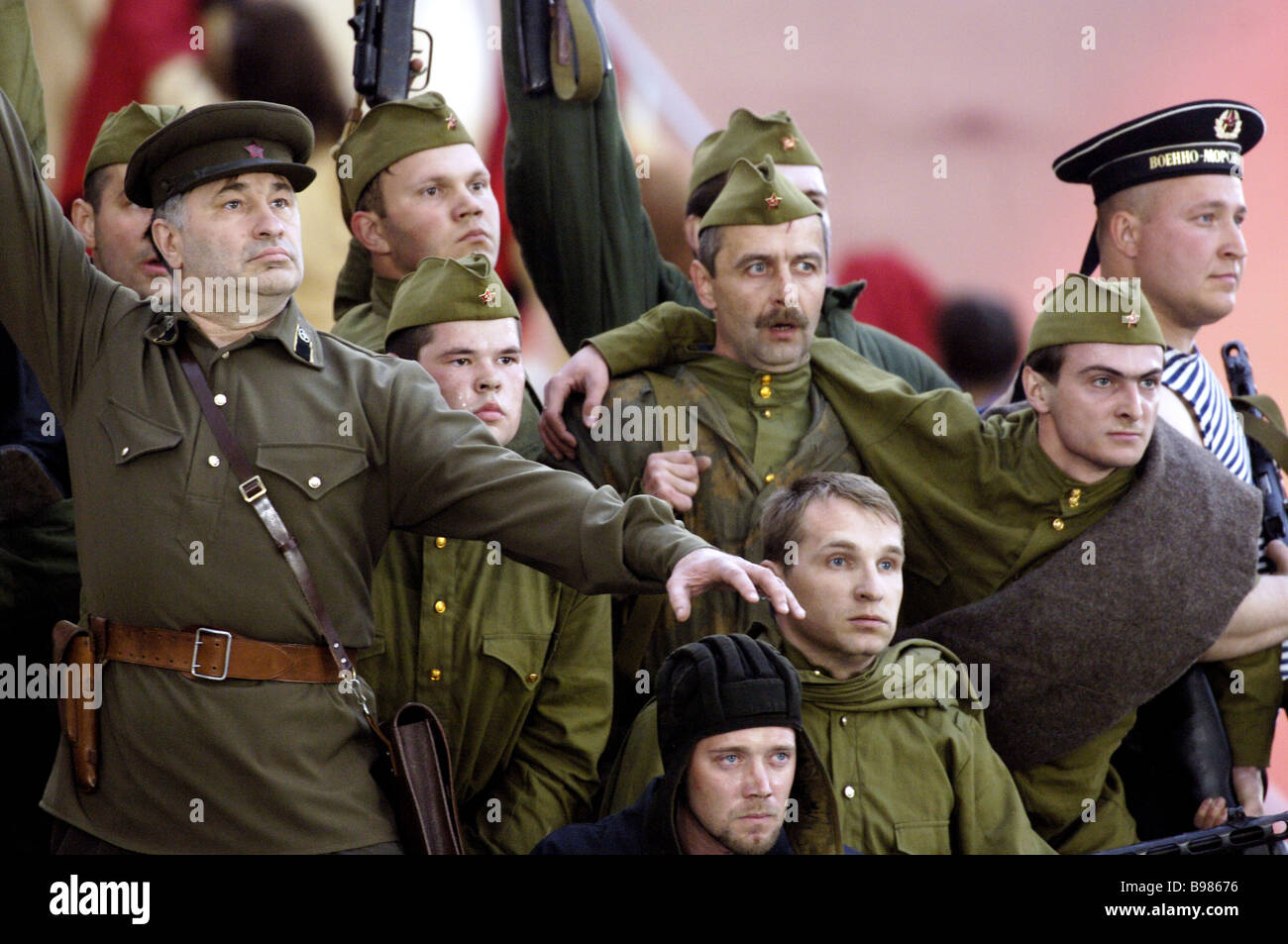 Actors at the pageant Bow to the Glorious Years Red Square Moscow May 9 2005 - Stock Image