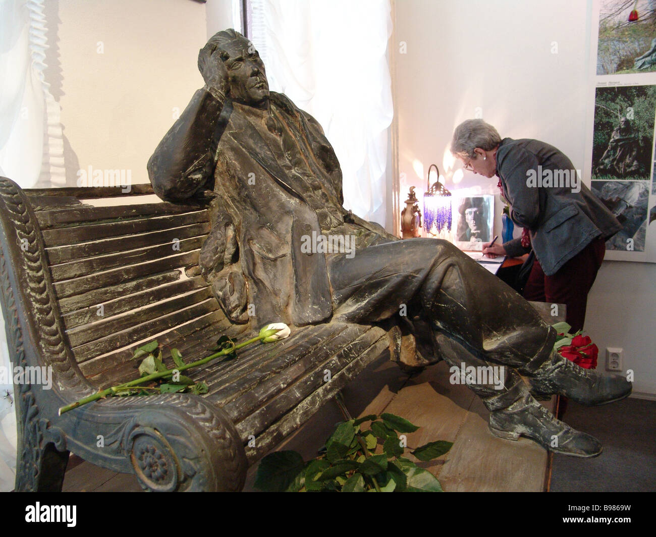 A model of the monument to Mikhail Bulgakov to be erected at the Patriarch Ponds in Moscow The Bulgakov House cultural - Stock Image