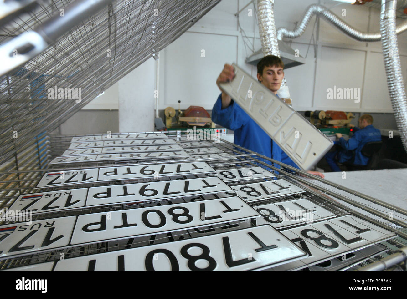 A shop of producing license plates of Russia - Stock Image