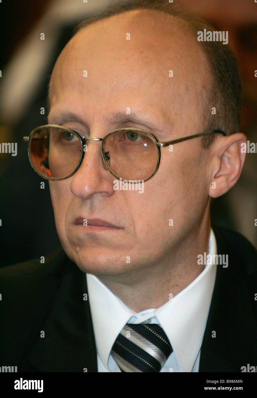 Mikhail Mokretsov head of the Federal Taxation Service during a government meeting on the prospects for the service - Stock Image
