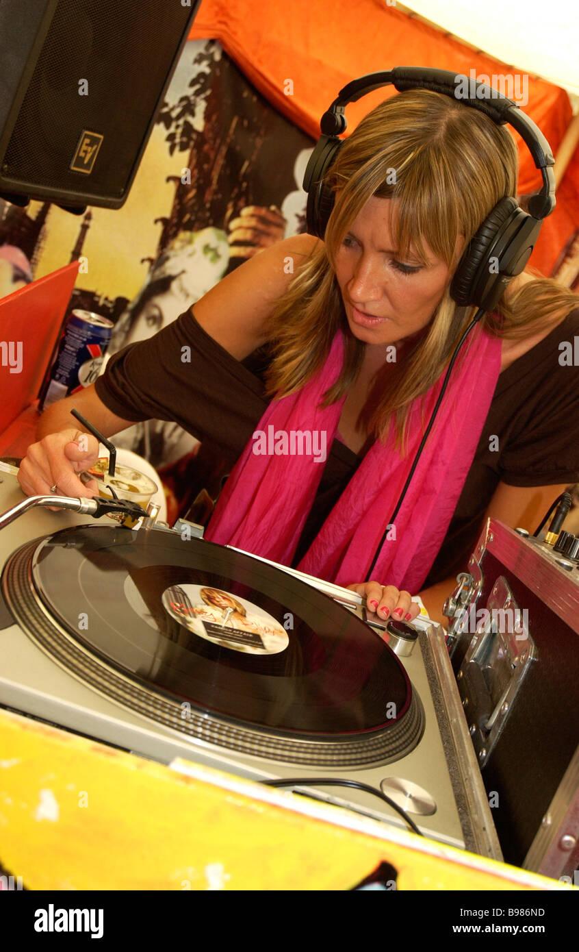DJ Lottie at Bestival. Isle of Wight. UK - Stock Image