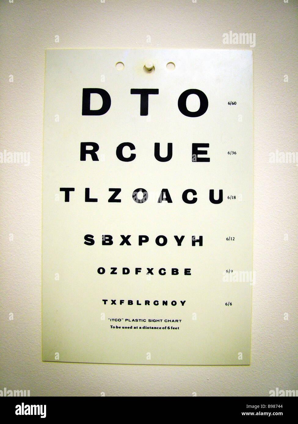 Eye Test Chart Optician Optometry Optometrist Exam Visual Stock