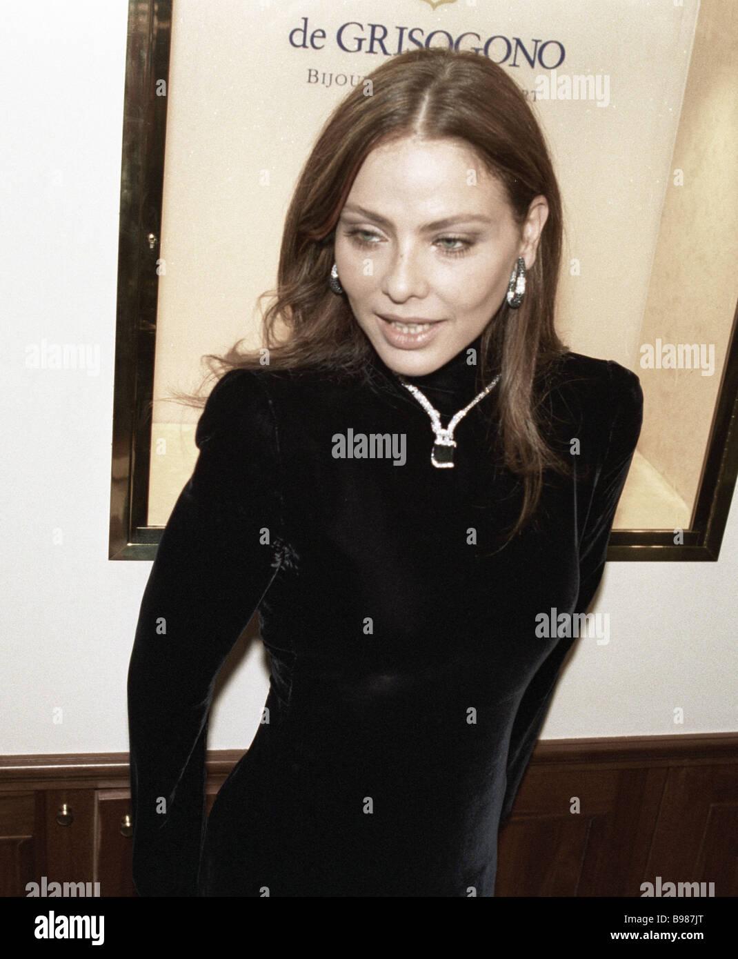 Italian movie star Ornella Muti presents famous black diamond jewelry by De Grisogono company in Russia Stock Photo