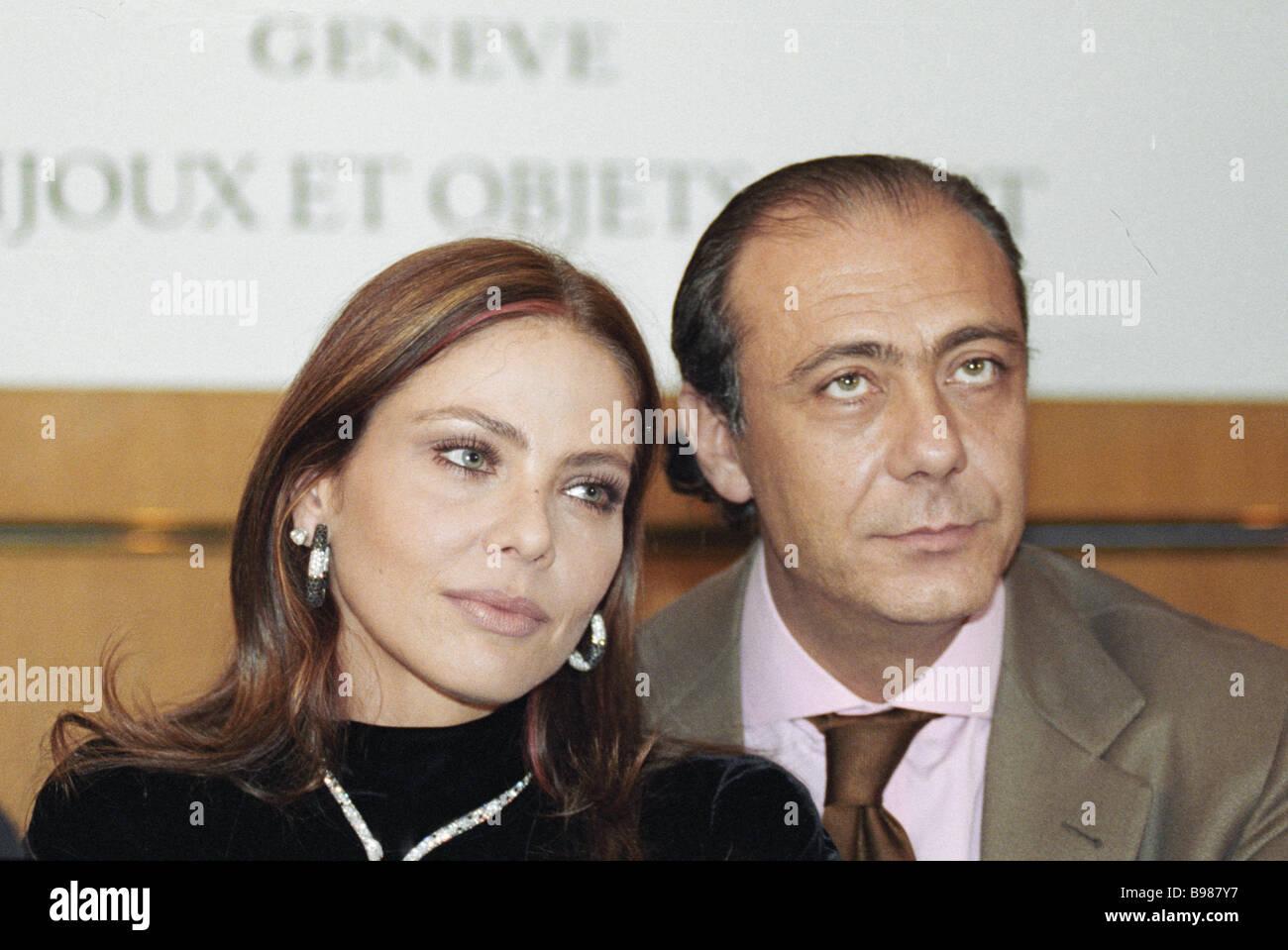 Italian movie star Ornella Muti left and famous jeweler Fawaz Gruosi head of company De Grisogono right attend presentation Stock Photo