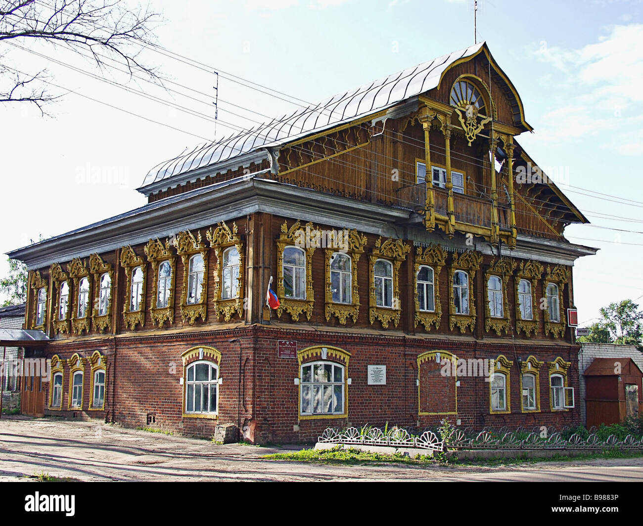 This house with its exquisite carved wooden decorations is a masterpiece of 19th century Russian architecture Kovernino - Stock Image