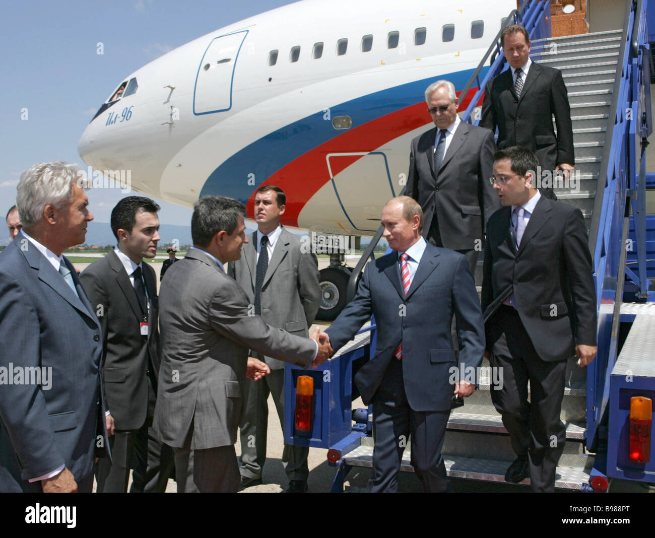 Russian President Vladimir Putin 2nd to the right at the Pleso Airport in Zagreb Croatia - Stock Image