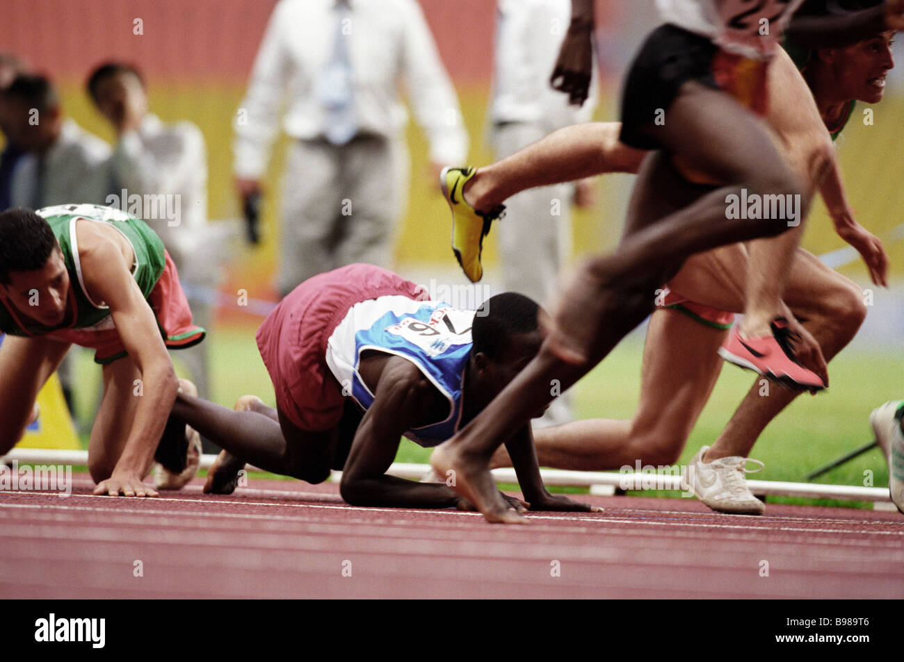 A 1500 meter race competition 100 meters left to the finish - Stock Image
