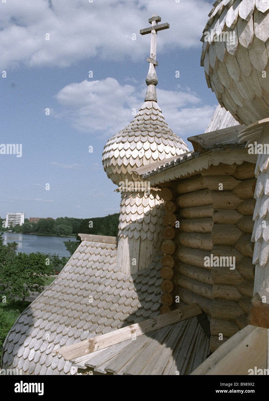 Wooden cupolas of the St George s Church in Koptevo Moscow - Stock Image