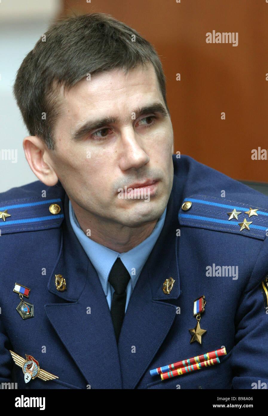 Russian cosmonaut Yury Malenchnenko - Stock Image