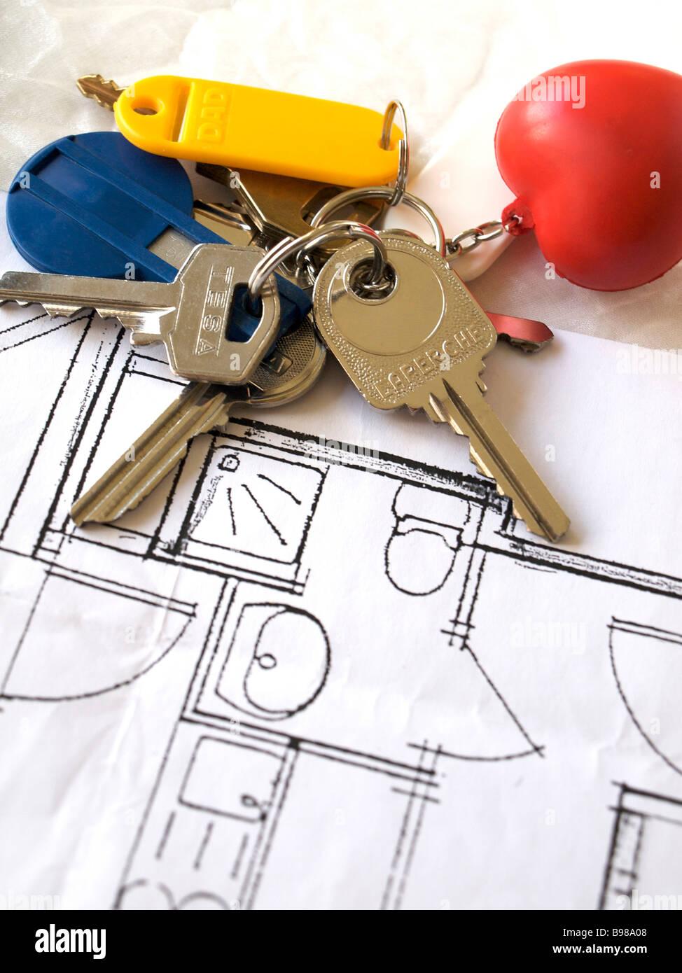 House building / architect's plans / keys - extending house / building / extension concept - Stock Image