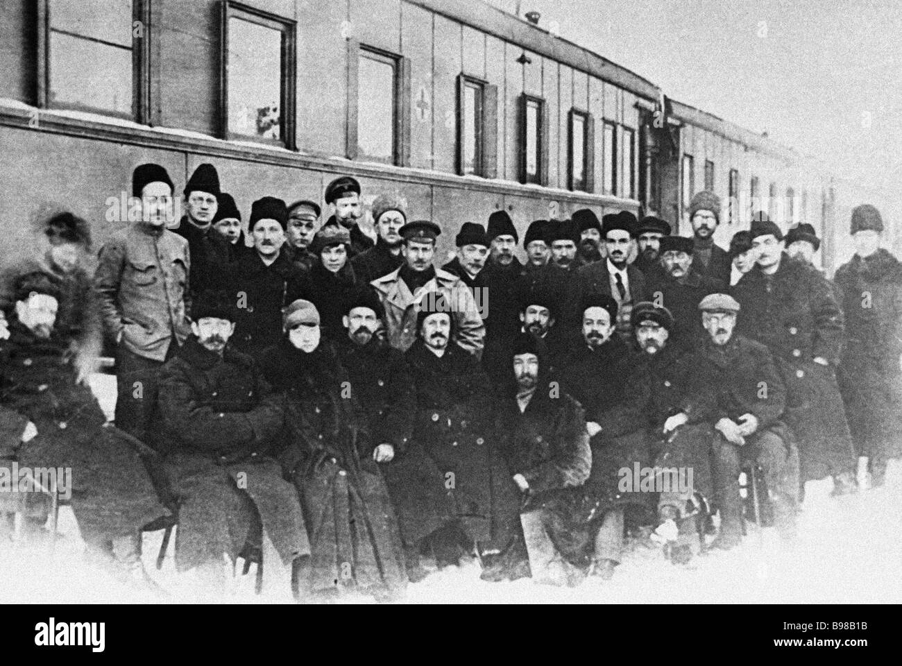 Science train passengers academics and scholars who went to Tashkent to work at the first state university of Central - Stock Image