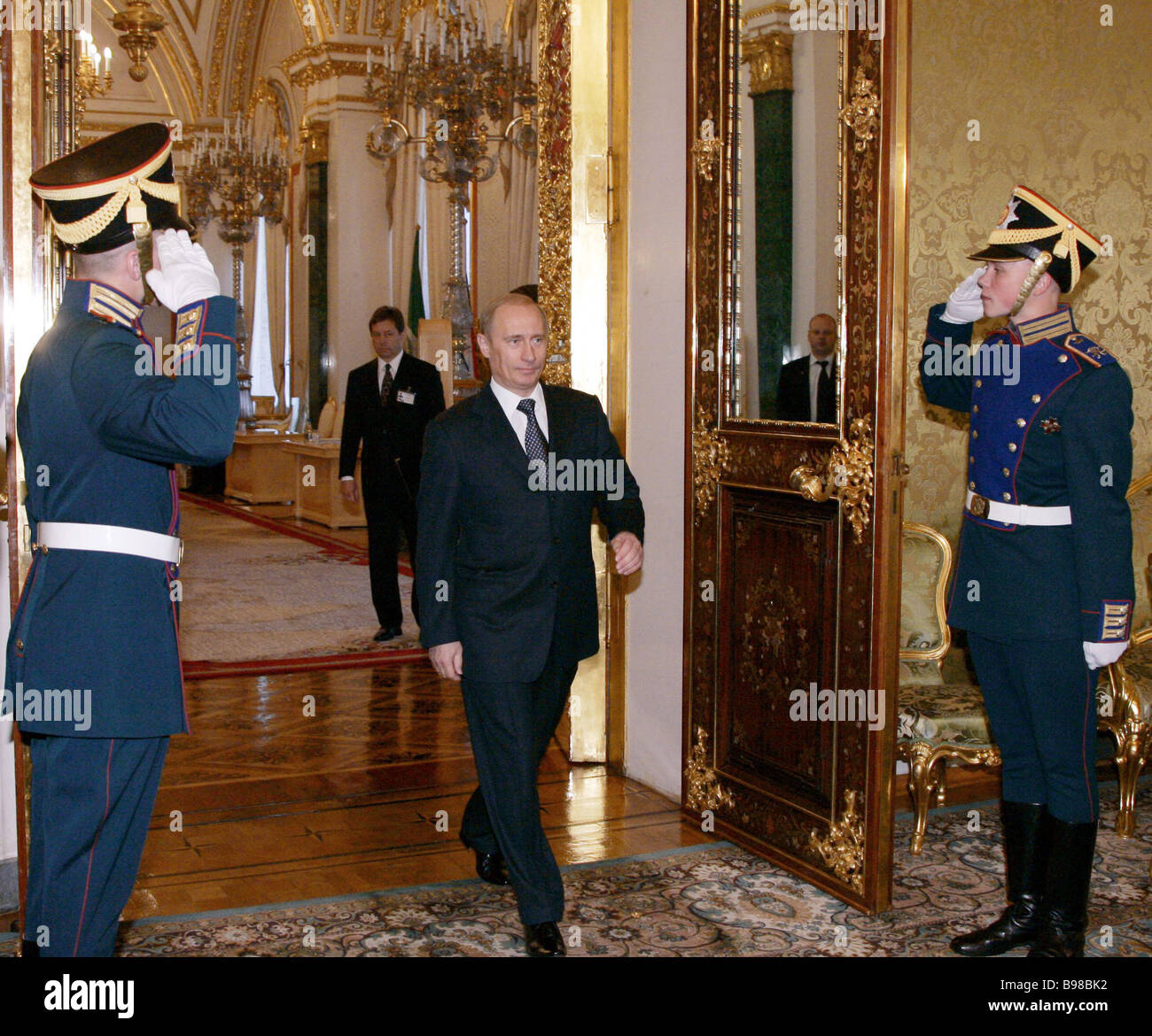 Russian President Vladimir Putin entering the green hall of the Grand Kremlin Palace before the meeting with his Stock Photo