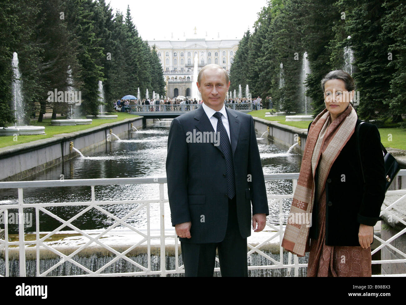 President of the Indian National Congress INC party of the Republic of India Sonia Gandhi right and Russian President - Stock Image