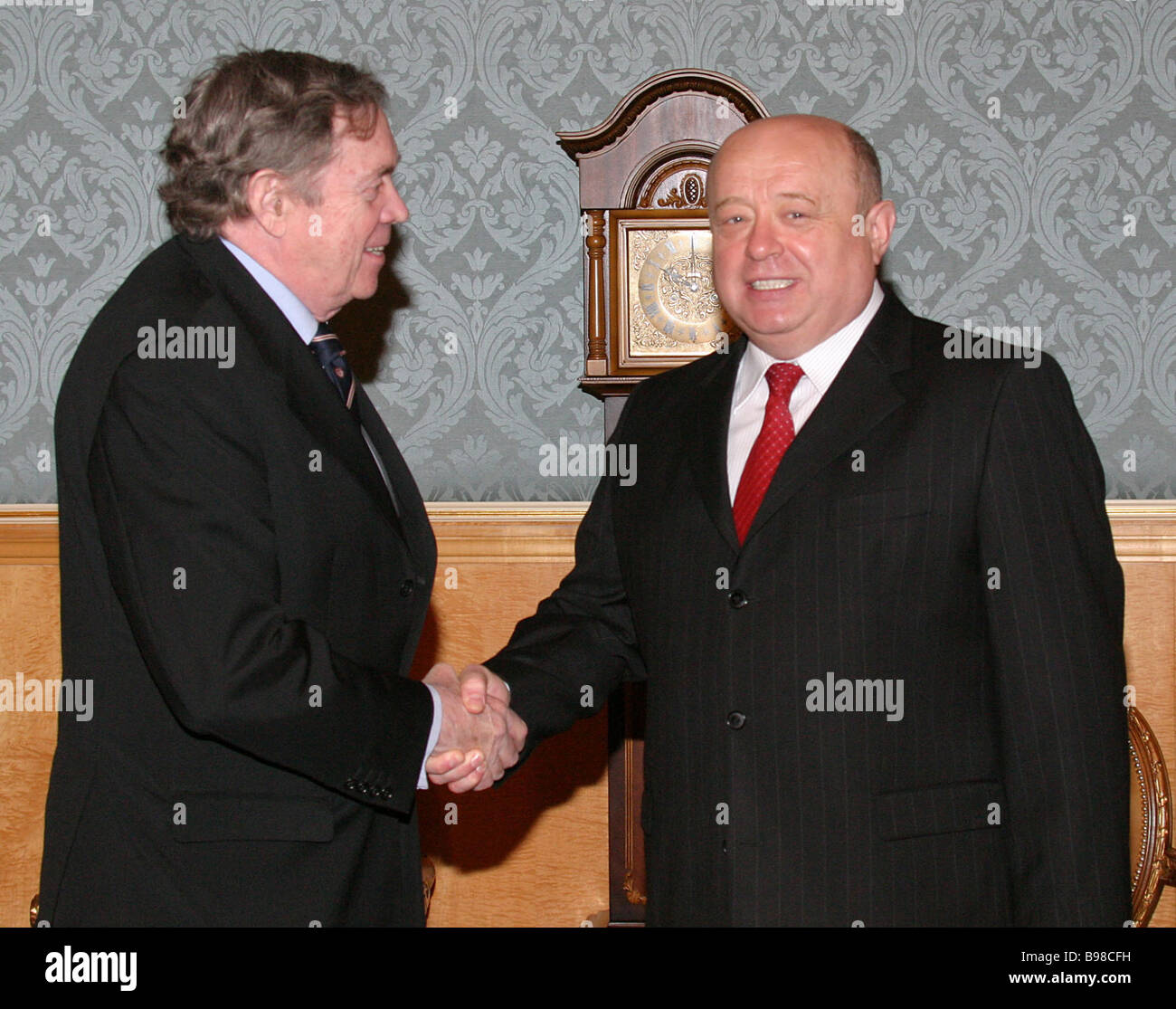 Russian Prime Minister Mikhail Fradkov right met with Secretary General of the Organization for Economic Cooperation - Stock Image