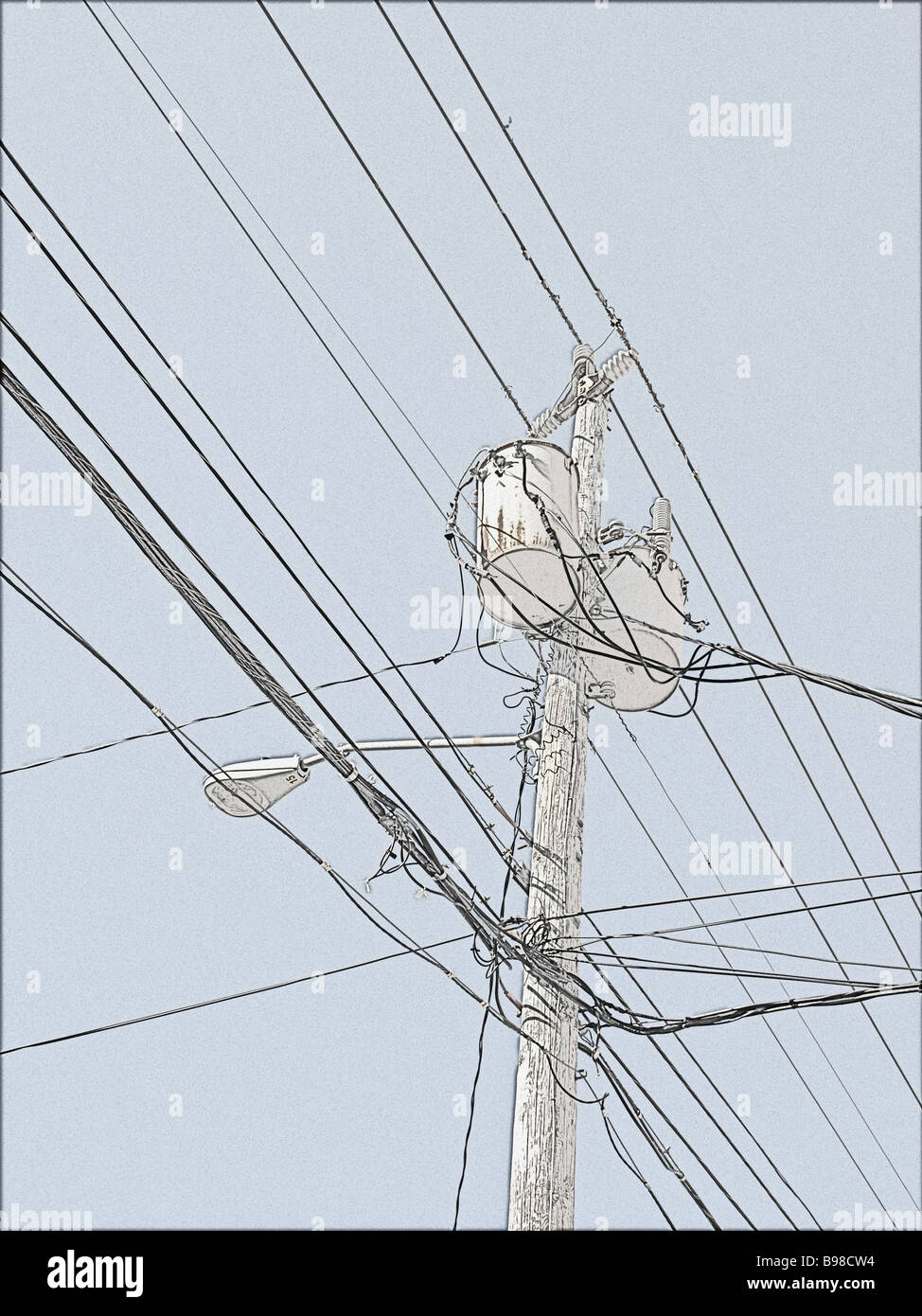 utility pole with generator street lamp and wires in a drawing type image  from photograph