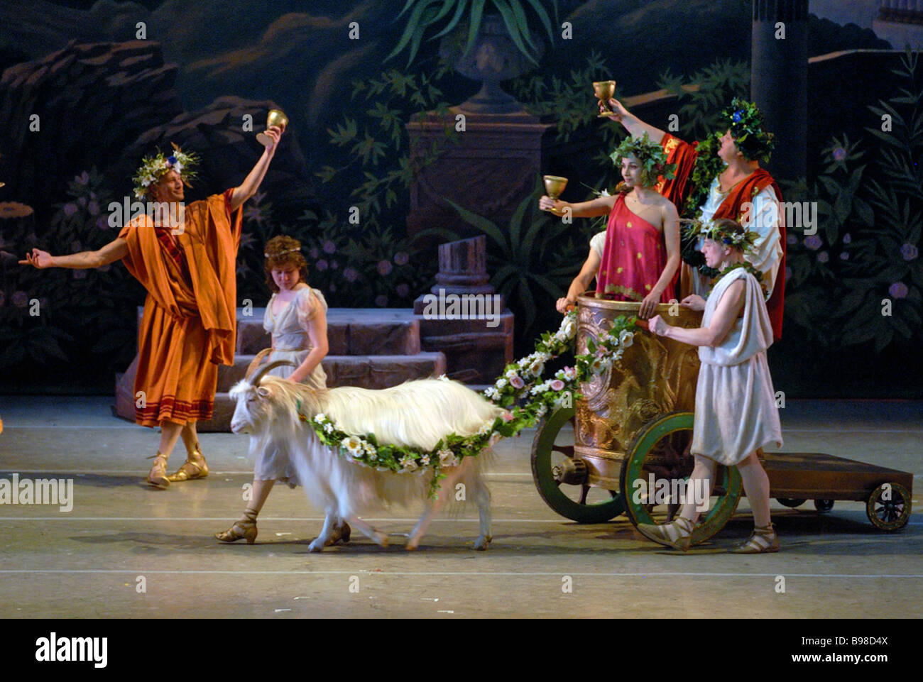 Scene from ballet The Awakening of Flora by Ricardo Drigo at Mariinsky Theater The ballet restored by Marius Petipa - Stock Image