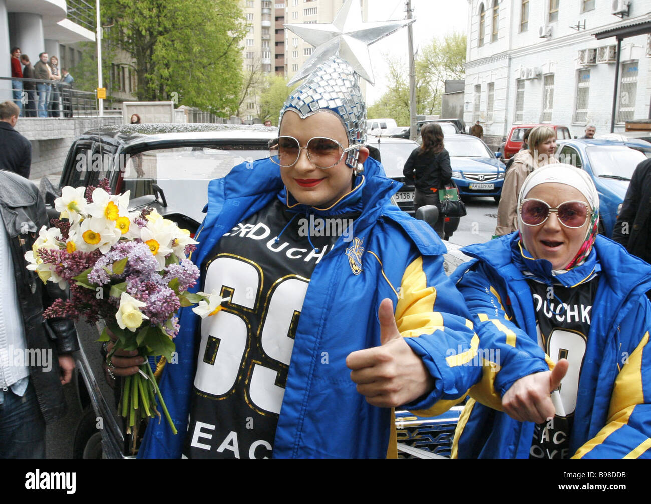 Entertainer Andrei Danilko departing for a Eurovision song contest He is popularly known as Verka Serdyuchka after - Stock Image