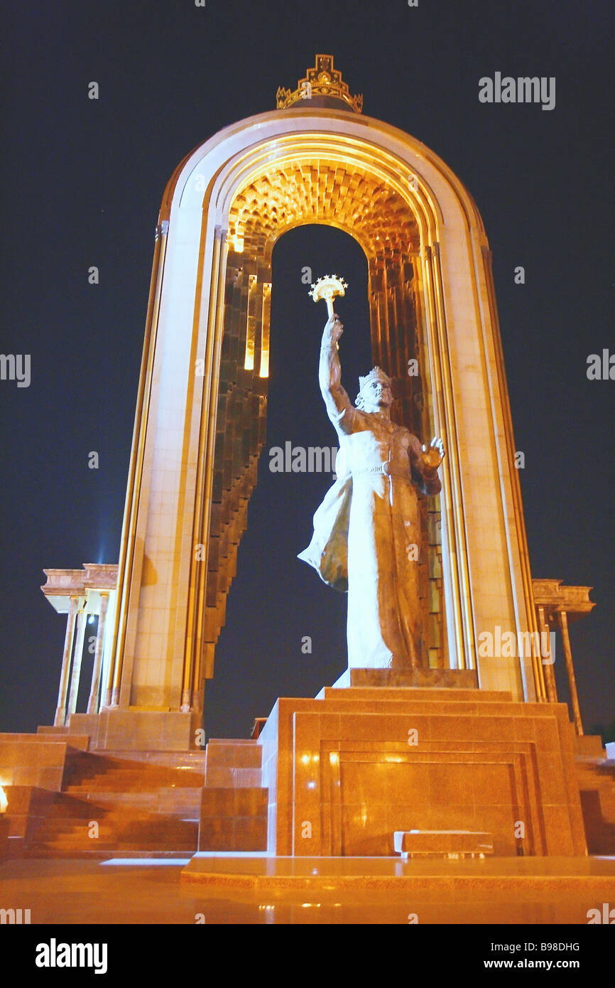 A sculpture of Ismaili Samani legendary 9th century Tajik ruler in Dushanbe the Tajik capital - Stock Image