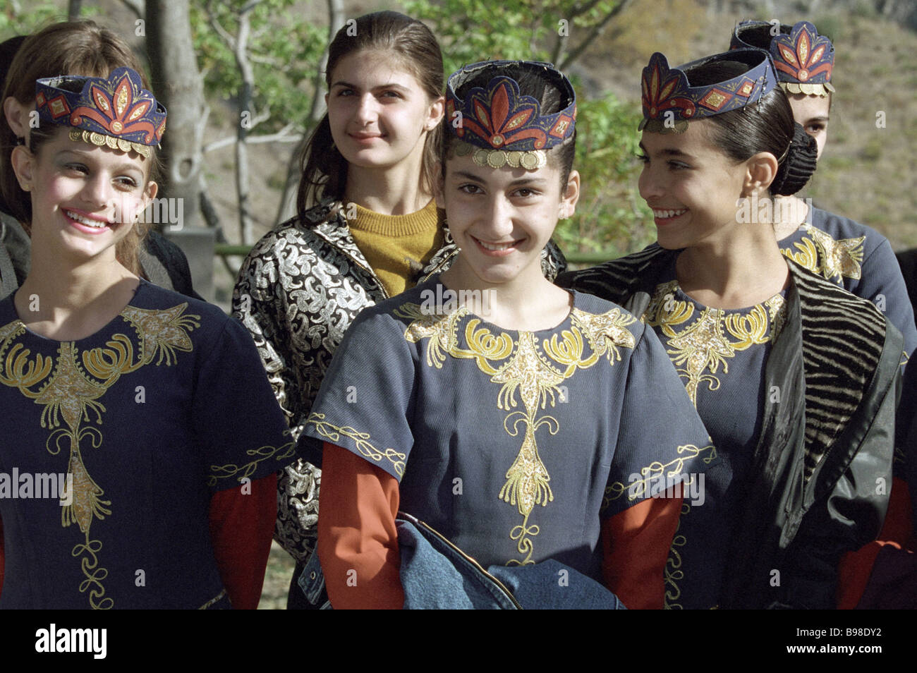 These young girls excel in the Armenian amateur dance company - Stock Image