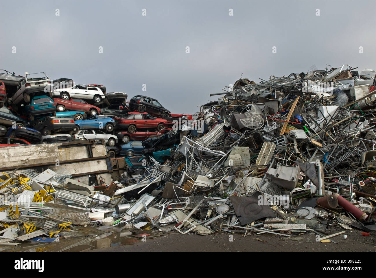 Scrap cars and scrap metal at a recycling centre, Opladen near Stock ...