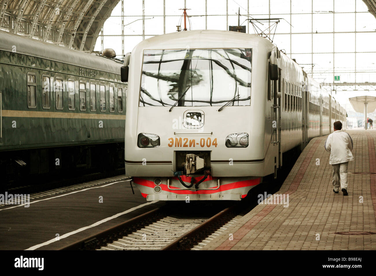 High speed suburban electric train Kievsky Railway Terminal Vnukovo Airport Stock Photo