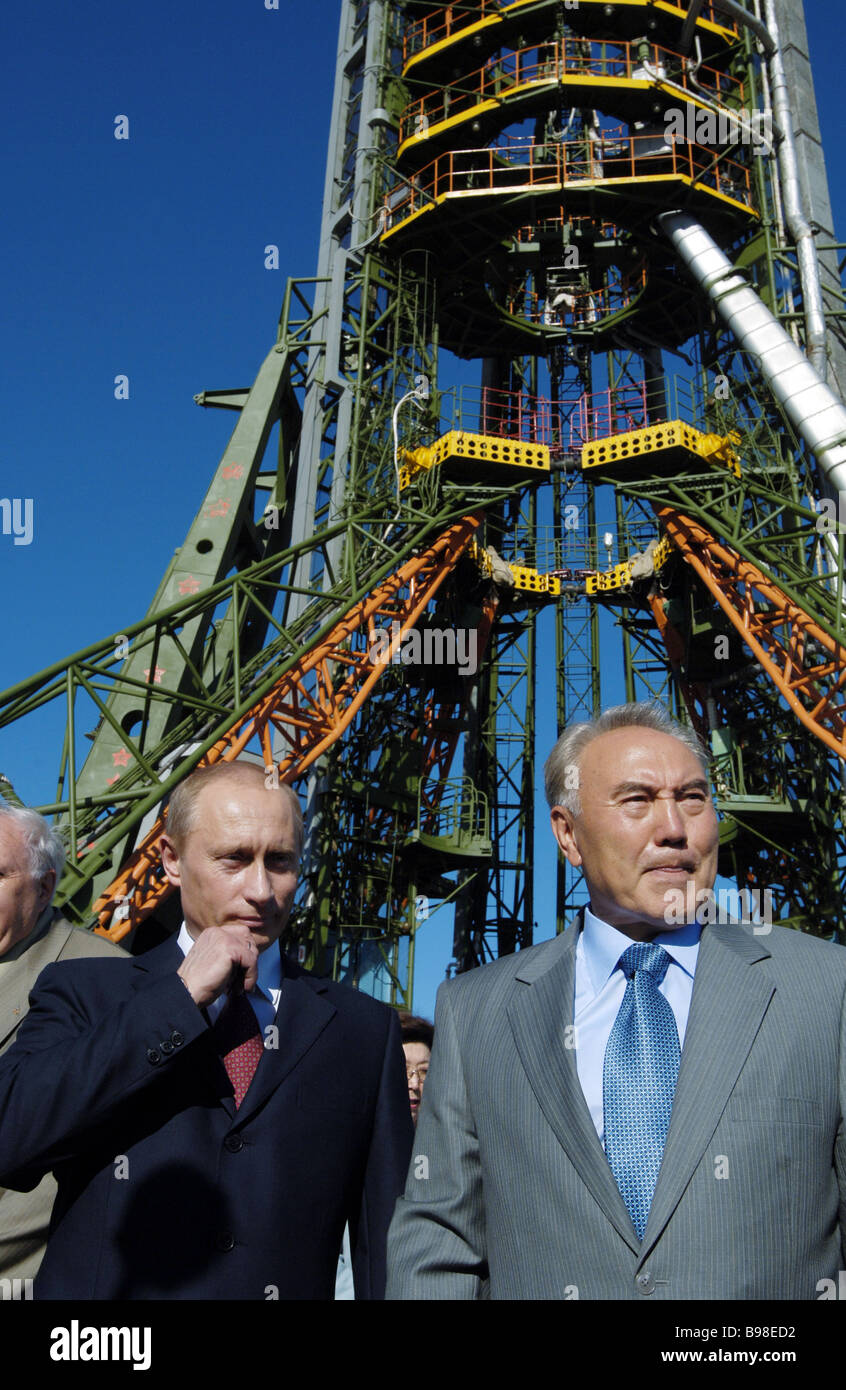 During the celebration of the 50th anniversary of the Baikonur cosmodrome Russian and Kazakh presidents Vladimir Stock Photo