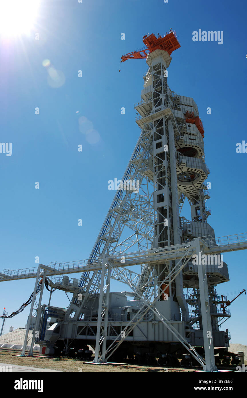 The Proton launch complex service facility Celebration of the 50th anniversary of the Baikonur cosmodrome - Stock Image