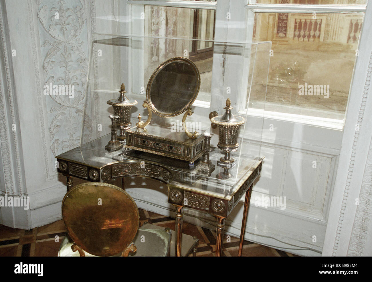 Steel dressing table made by Tula smiths in the end of XVIII century From the collection of the Pavlovsk museum - Stock Image