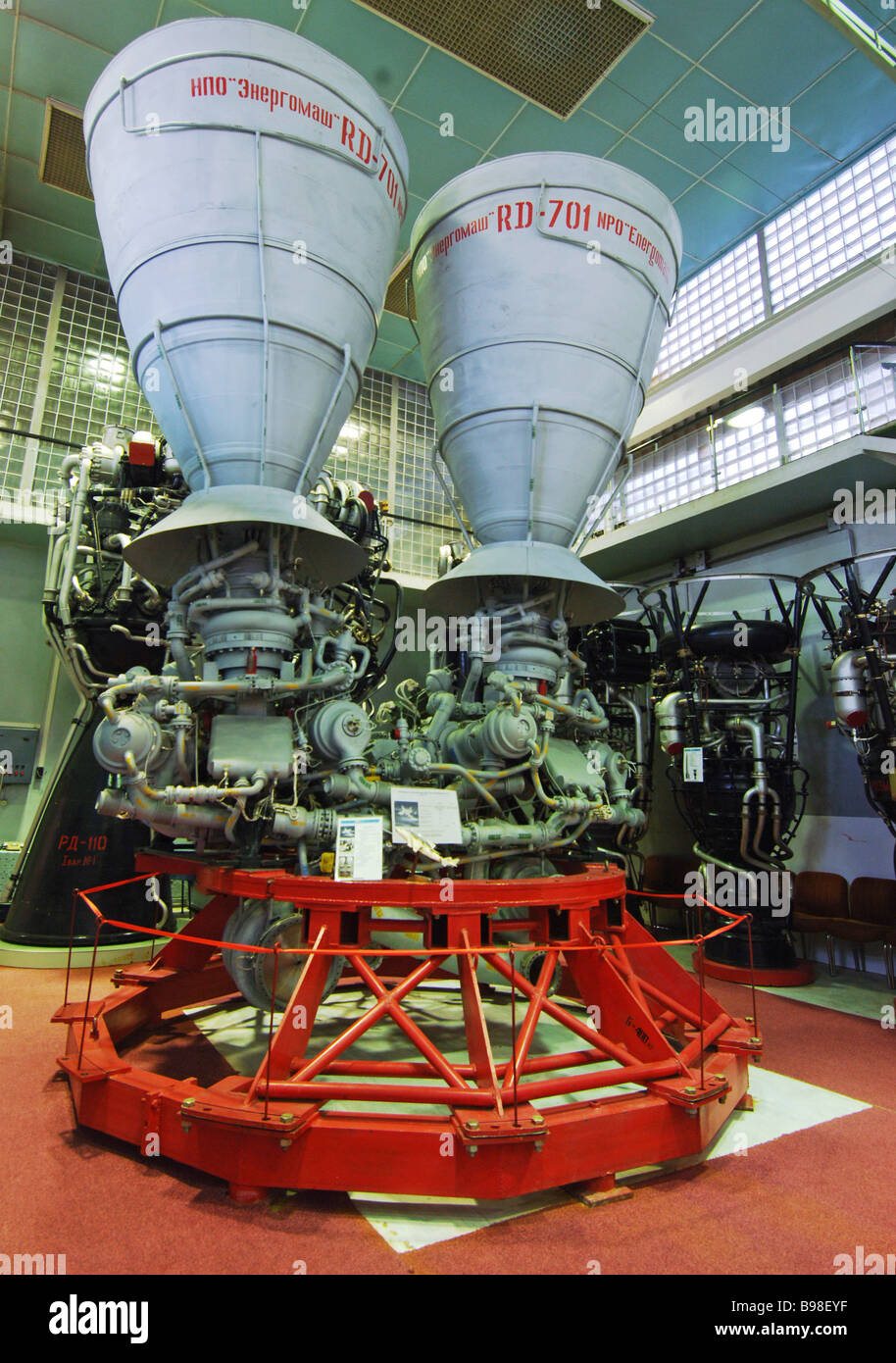 The RD 701 three component rocket engine for the MAKS project at the Glushko Energomash Research and Production - Stock Image