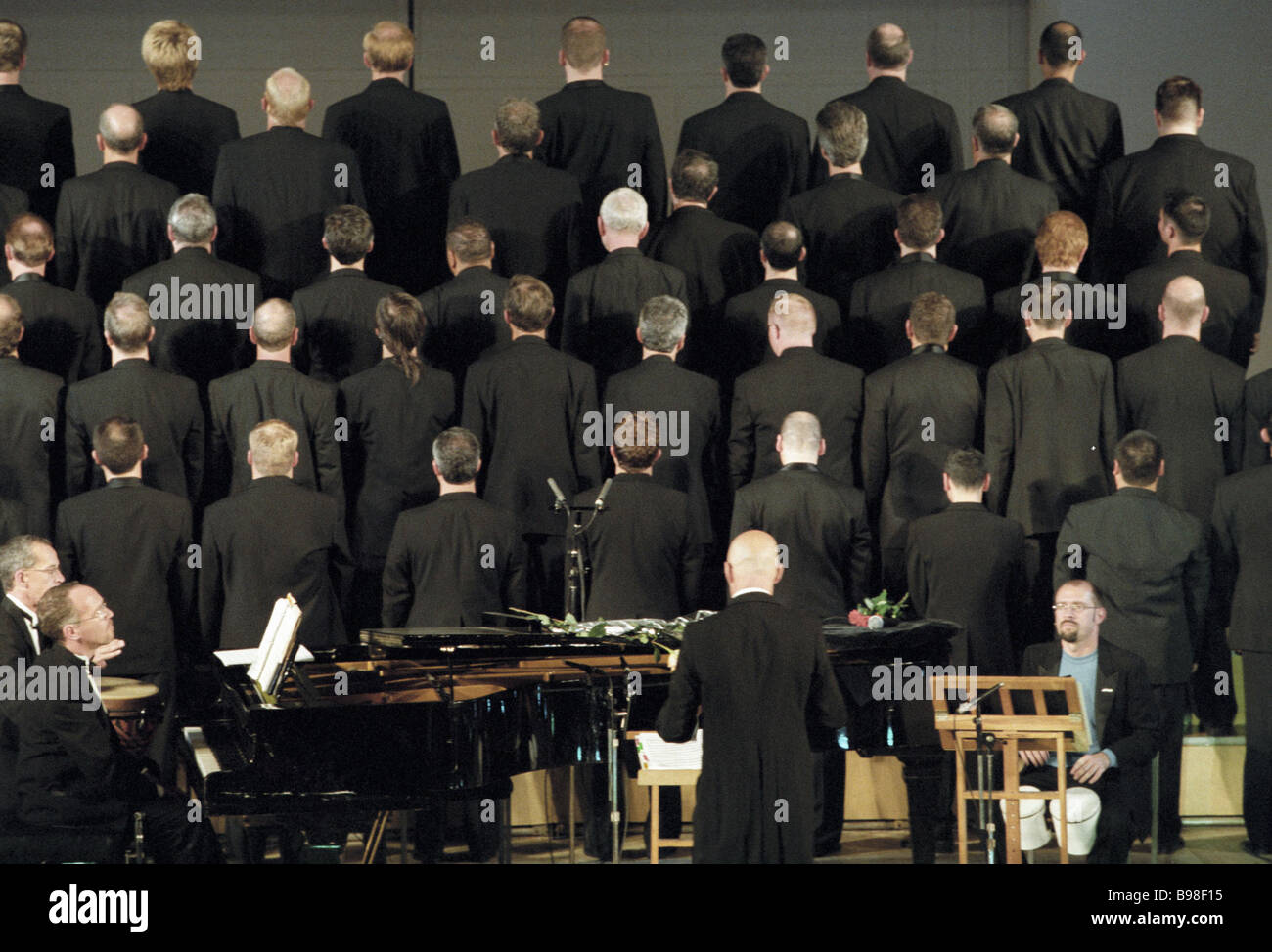 Los Angeles male voice choir performing in Moscow - Stock Image