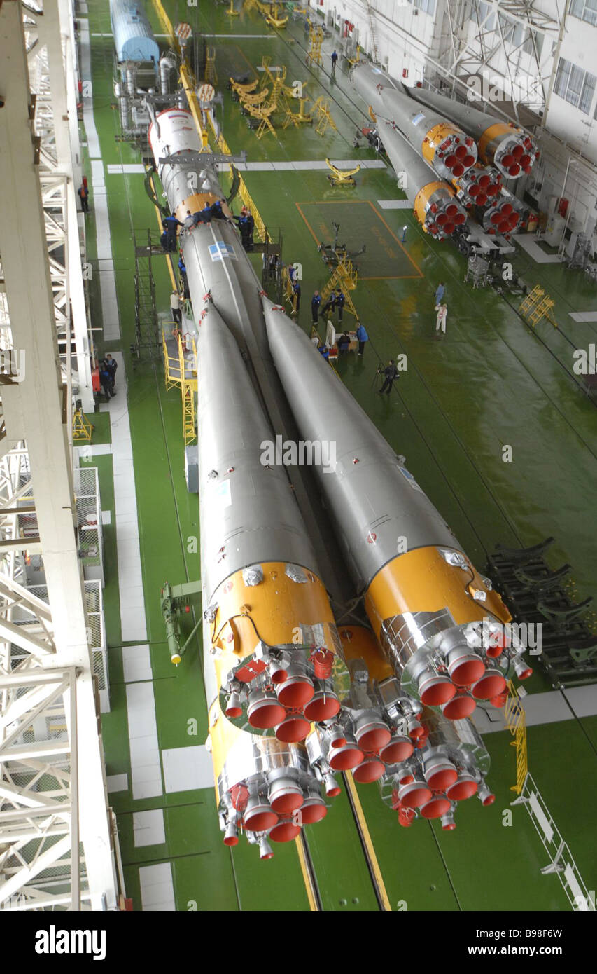 Progress M 60 cargo craft orbiting preparations are going on schedule at the Baikonur space center Docked to its - Stock Image