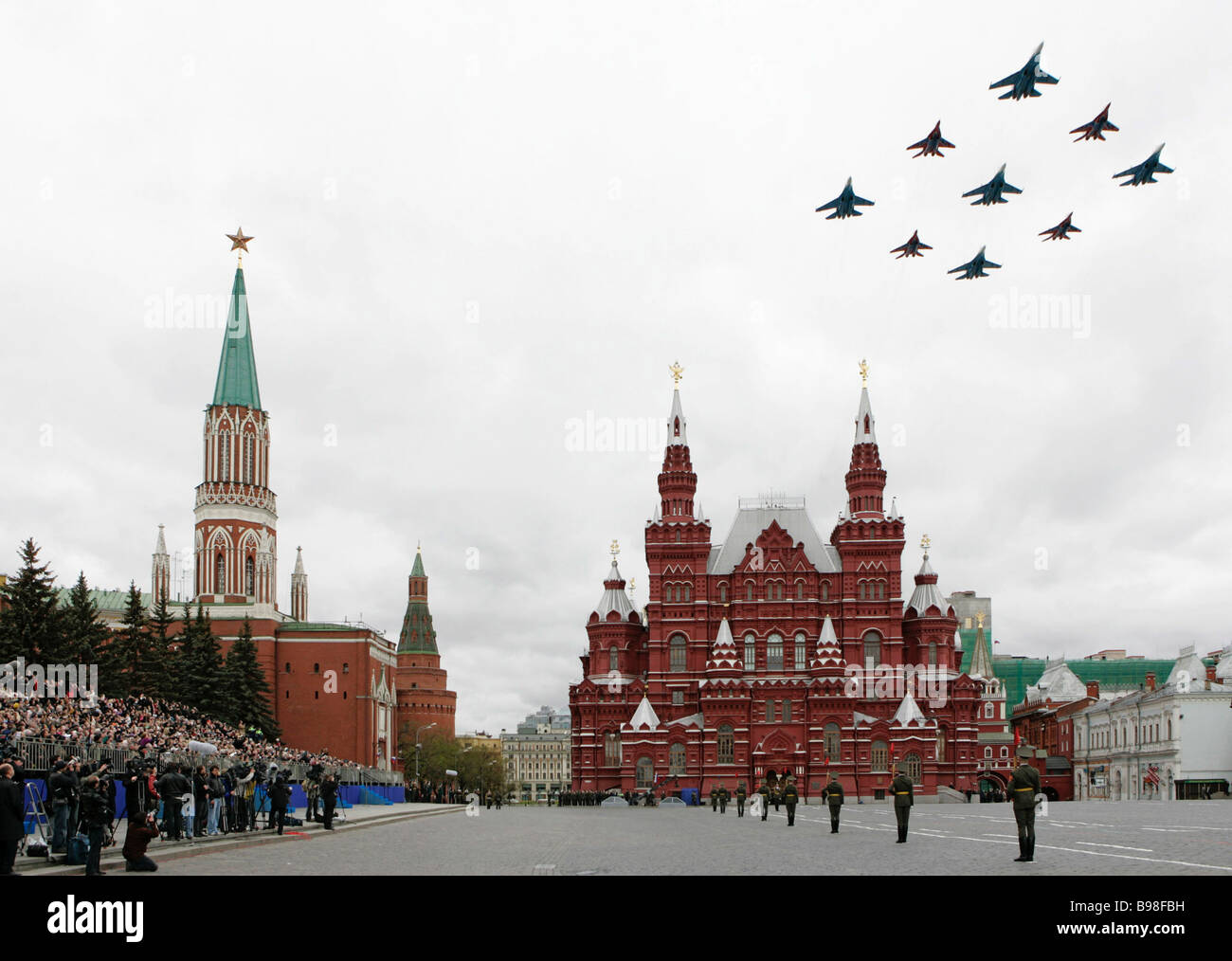 The Vityaz aerobatic team of SU 27 and MIG 29 fighters taking part in a 62nd V E anniversary military parade in - Stock Image