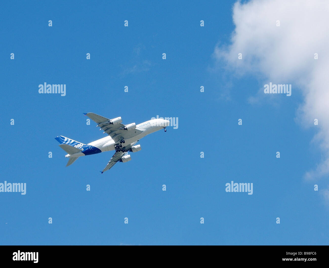 A demonstration flight of the A 380 airbus at the 46th air show in Le Bourget France - Stock Image
