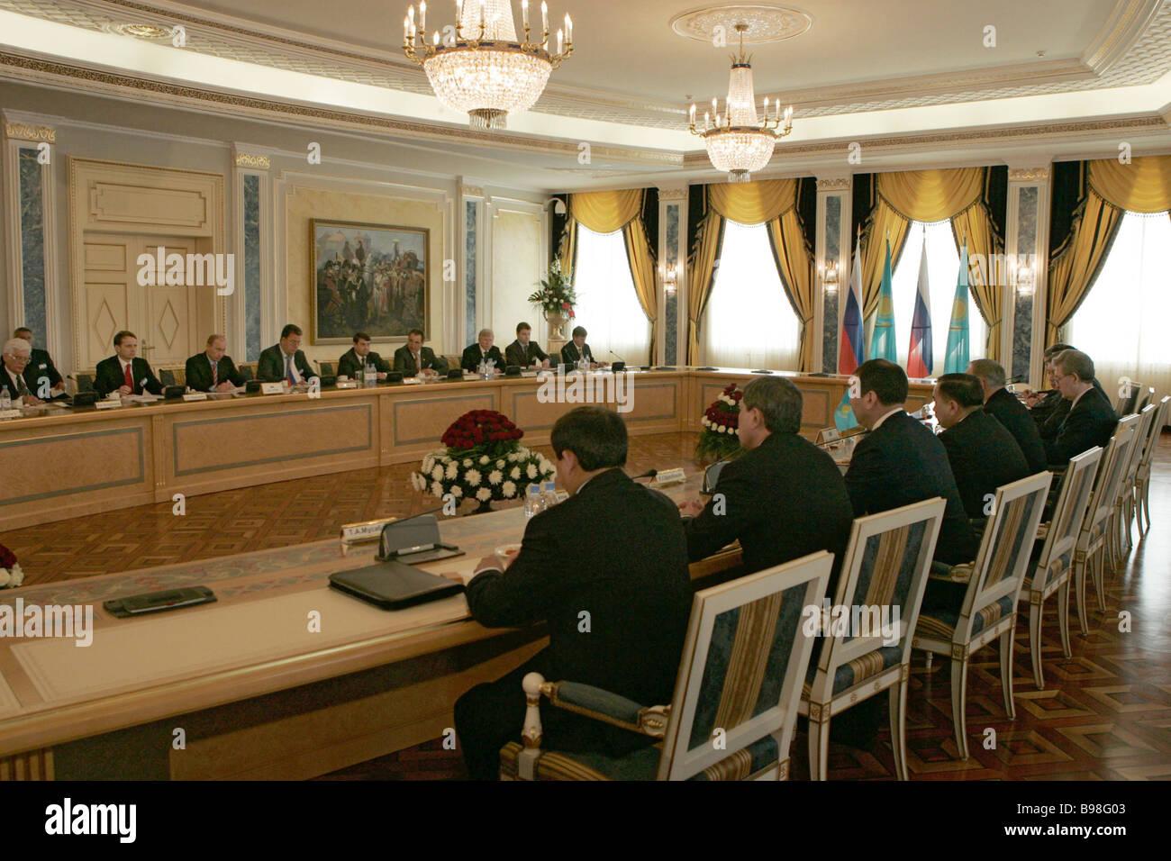 Russian Kazakh talks at Ak Orda presidential palace in Astana - Stock Image