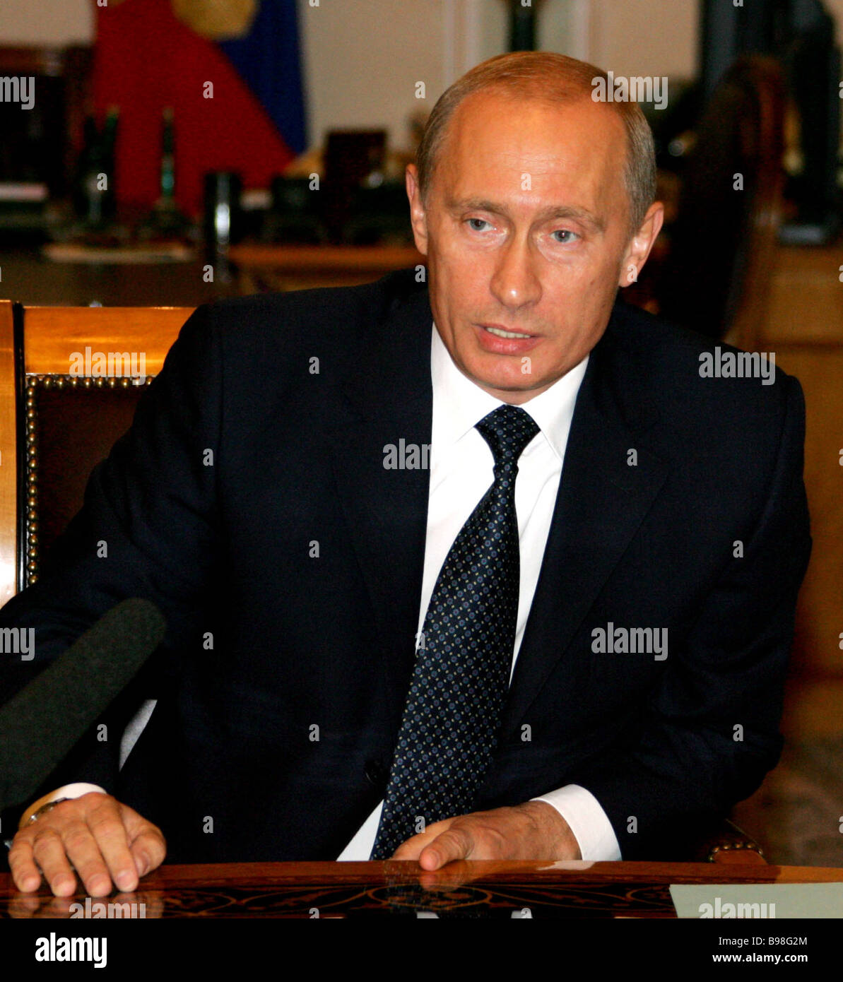 President of Russia Vladimir Putin at a Security Council Meeting in the Kremlin - Stock Image