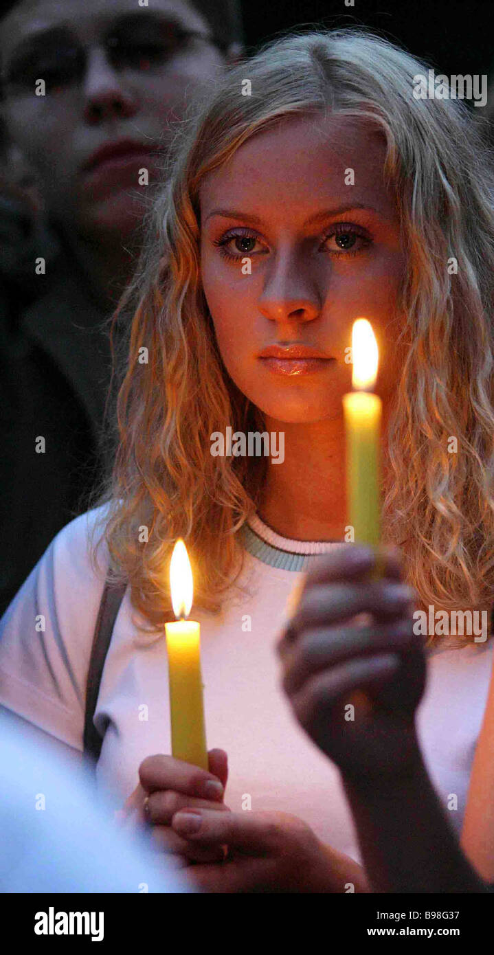 Silent rally to commemorate the death of the children killed in Beslan school No 1 - Stock Image