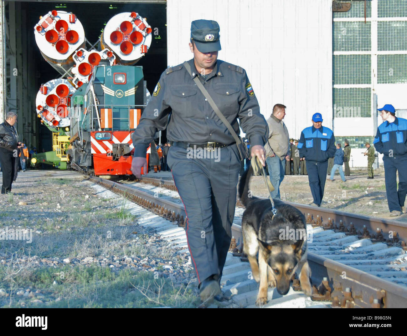 Checking tracks for explosives at the Baikonur space center - Stock Image