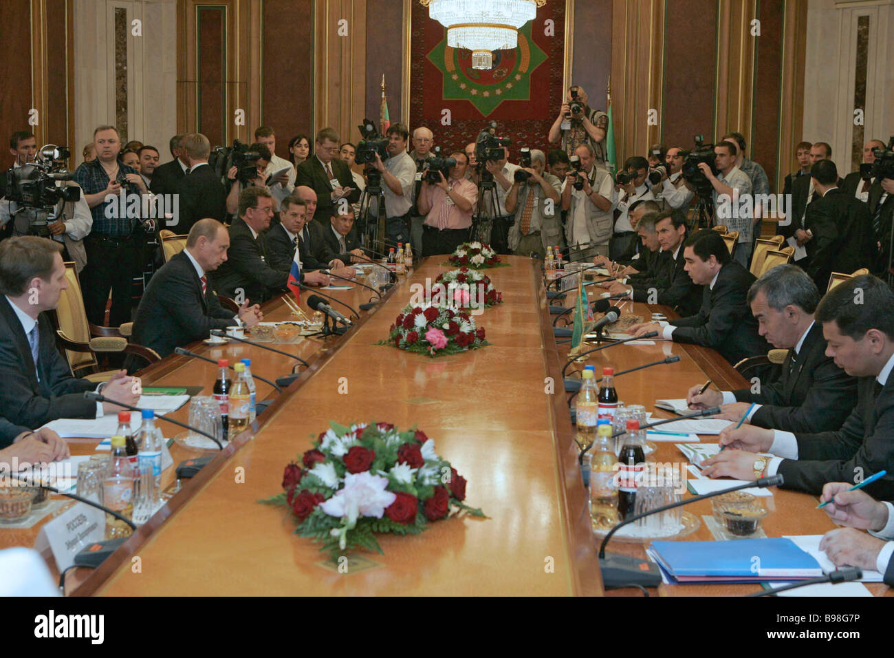 Russian Turkmen talks at the presidential palace in Ashkhabad - Stock Image