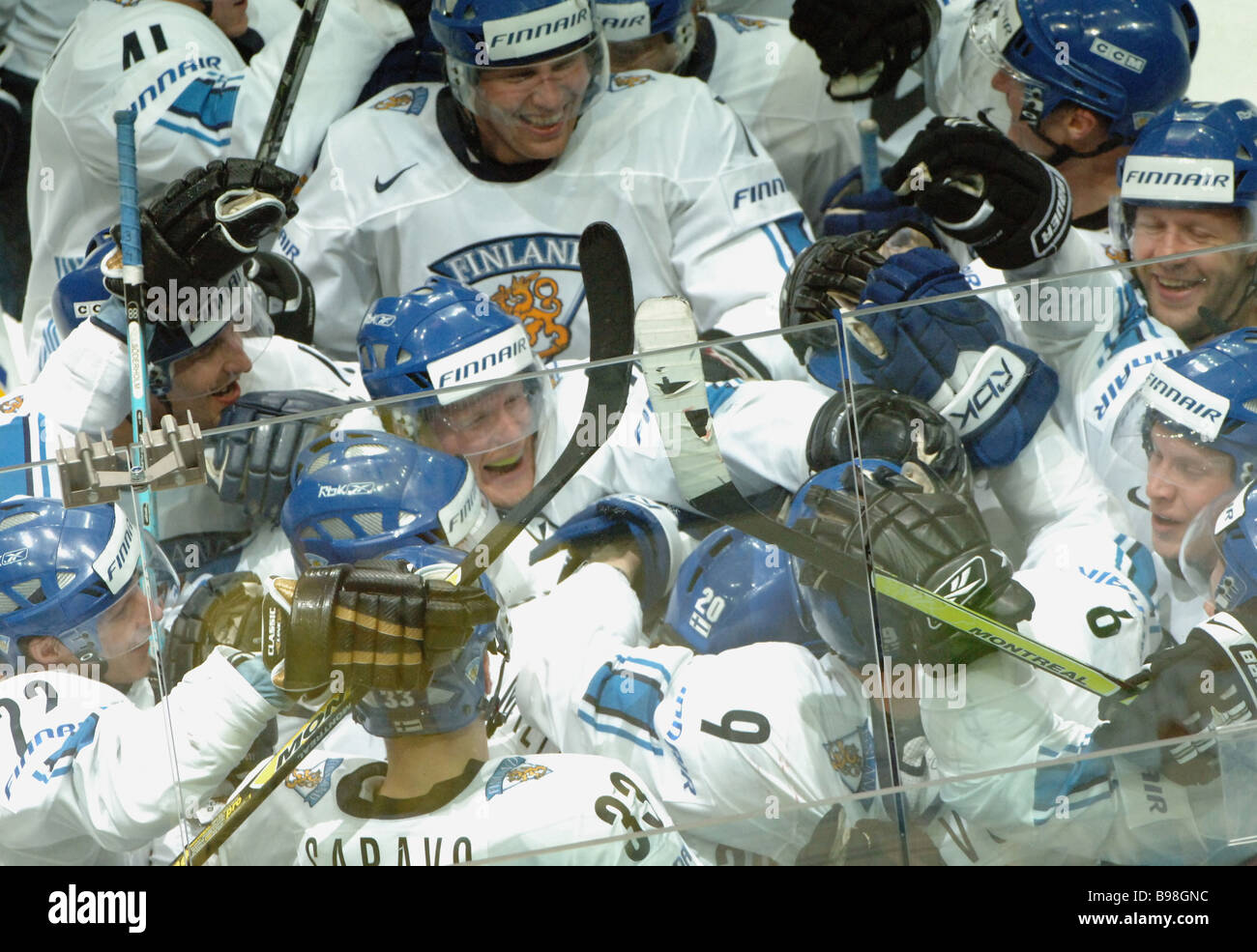 Finland defeated Russia 2 1 during the World Ice Hockey Championship - Stock Image