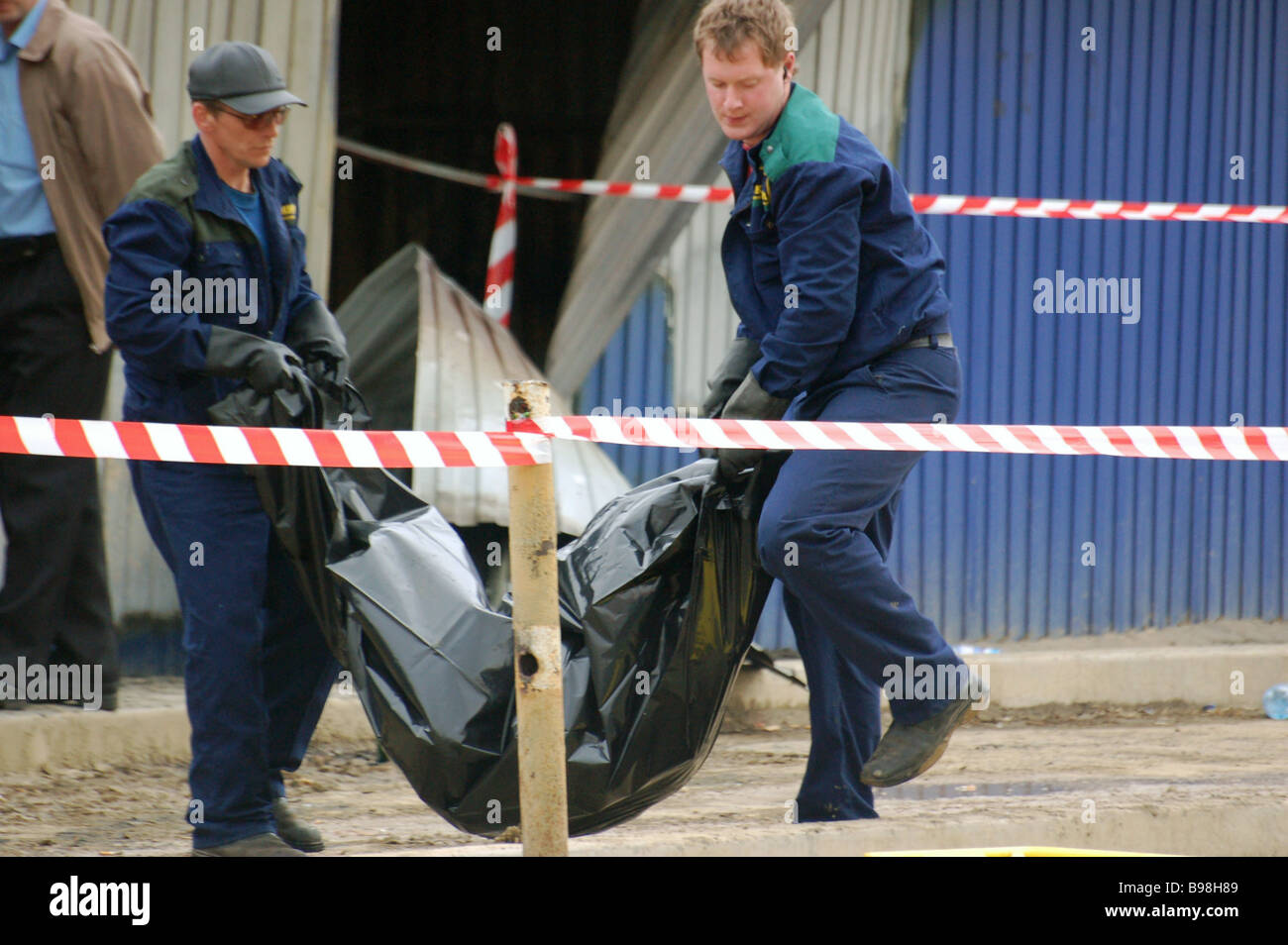 An explosion and subsequent fire killed ten people at Yantarny Amber cafe in Orsk - Stock Image