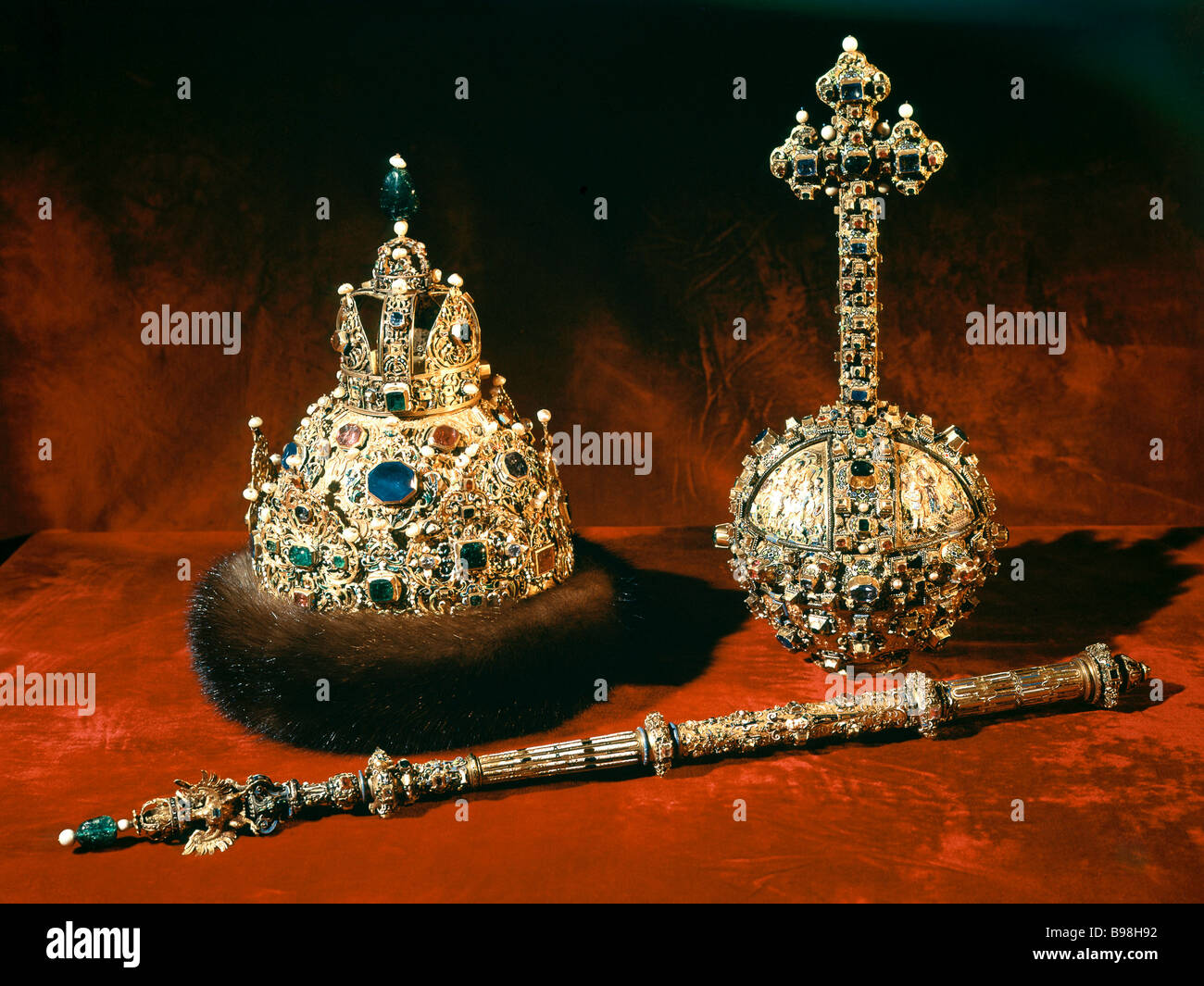 The regalia crown scepter and orb of Tsar Mikhail Romanov 1627 28 Exhibited at the Kremlin Armory - Stock Image