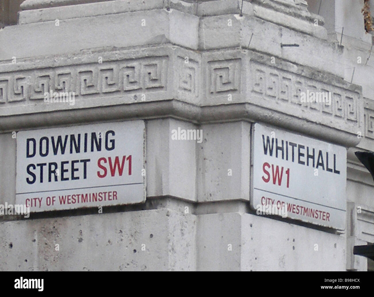 Corner of house between Downing Street and Whitehall Street - Stock Image