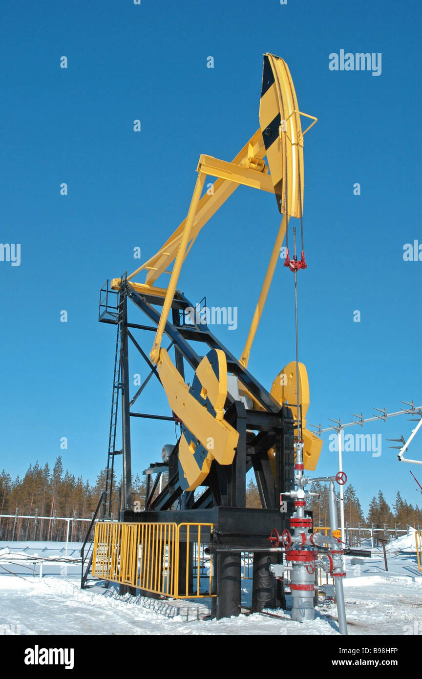 Sucker rod pump at oil well of the limited liability company Rosneft Purneftegaz - Stock Image